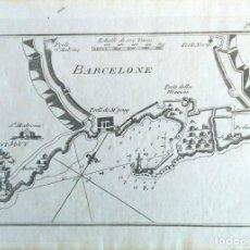 Arte: MAPA ANTIGUO DE BARCELONA AÑO 1764 CON CERTIFICADO AUTENTICIDAD. PORTULANOS ANTIGUOS BARCELONA. Lote 106918779