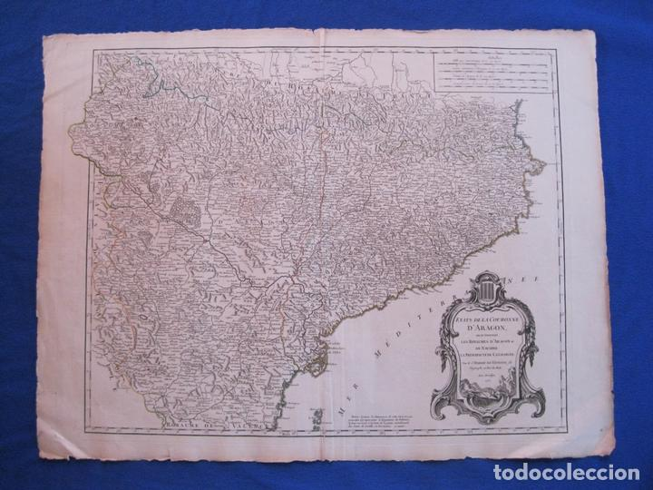 MAPA DE CATALUÑA, ARAGON Y NAVARRA..(ESPAÑA), 1752. ROBERT VAUGONDY (Arte - Cartografía Antigua (hasta S. XIX))