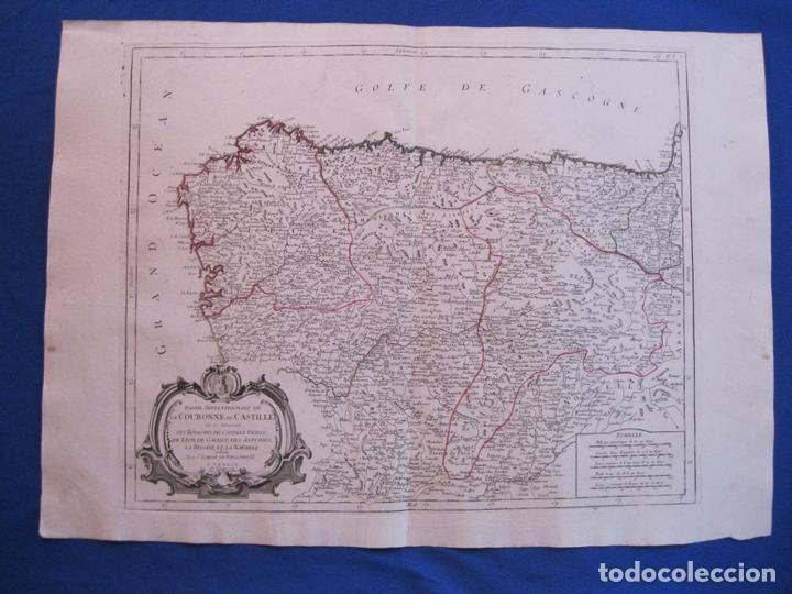Arte: Mapa de la parte septentrional de España, 1776. Vaugondy/ Santini - Foto 2 - 106961027
