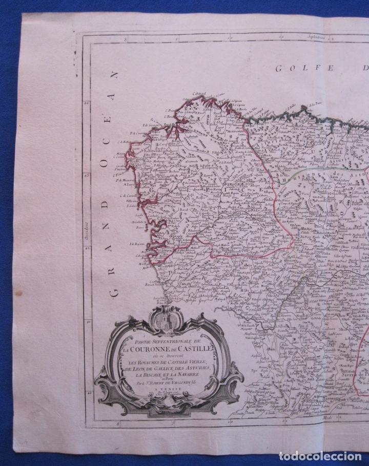 Arte: Mapa de la parte septentrional de España, 1776. Vaugondy/ Santini - Foto 4 - 106961027