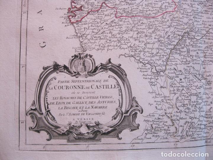 Arte: Mapa de la parte septentrional de España, 1776. Vaugondy/ Santini - Foto 5 - 106961027