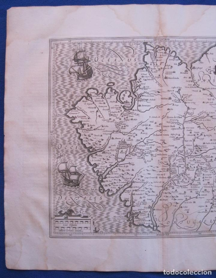 Arte: Gran mapa de Galicia (España), 1633. Mercator/Hondius - Foto 3 - 106961491