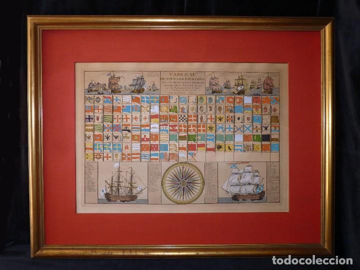 BANDERAS DE BARCOS. TABLEAU DE TOUS LES PAVILLONS QUE LON ARBORE SUR LES VAISSEAUX DANS LES QUATRE P (Arte - Cartografía Antigua (hasta S. XIX))