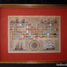 Arte: TABLEAU DE TOUS LES PAVILLONS QUE LON ARBORE SUR LES VAISSEAUX DANS LES QUATRE PARTIES DU MONDE. REP. Lote 107315999