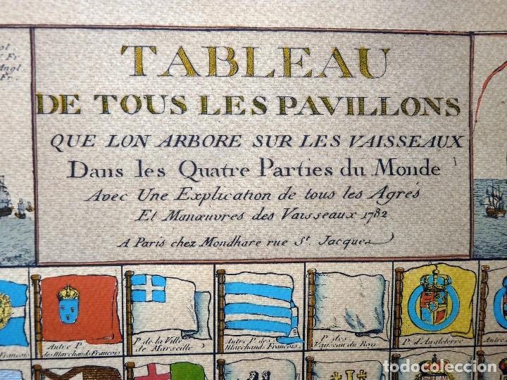 Arte: BANDERAS DE BARCOS. TABLEAU DE TOUS LES PAVILLONS QUE LON ARBORE SUR LES VAISSEAUX DANS LES QUATRE P - Foto 3 - 107315999