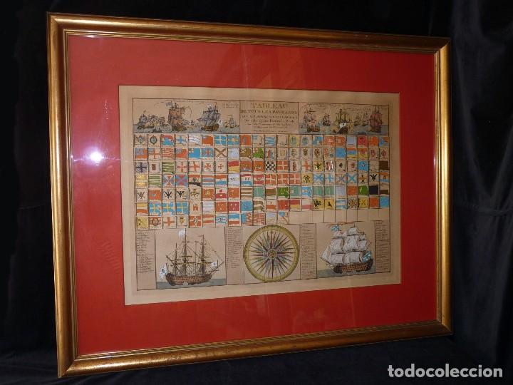 Arte: BANDERAS DE BARCOS. TABLEAU DE TOUS LES PAVILLONS QUE LON ARBORE SUR LES VAISSEAUX DANS LES QUATRE P - Foto 4 - 107315999