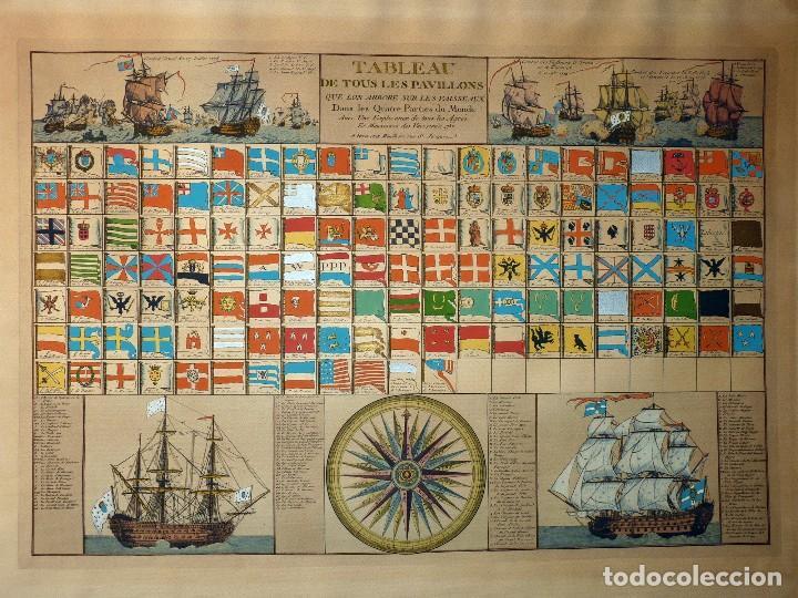 Arte: BANDERAS DE BARCOS. TABLEAU DE TOUS LES PAVILLONS QUE LON ARBORE SUR LES VAISSEAUX DANS LES QUATRE P - Foto 7 - 107315999
