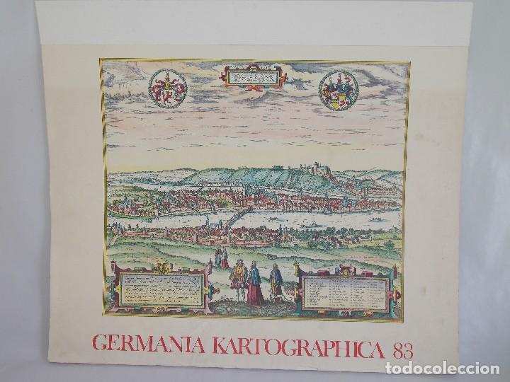 CARTOGRAFÍA ANTIGUA ALEMANIA GERMANIA KARTOGRAPHICA CALENDARIO MAPA ATLAS LAMINA (Arte - Cartografía Antigua (hasta S. XIX))