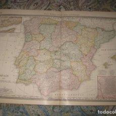Arte: MAPA DE ESPAÑA Y PORTUGAL, 1880. MCNALLY & CO. Lote 107445863