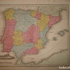 Arte: MAPA DE ESPAÑA Y PORTUGAL, 1859. SAMUEL WALTER. Lote 107446043