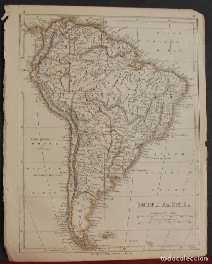 mapa de américa de sur, 1850. joseph wilson low - Kaufen Alte ...