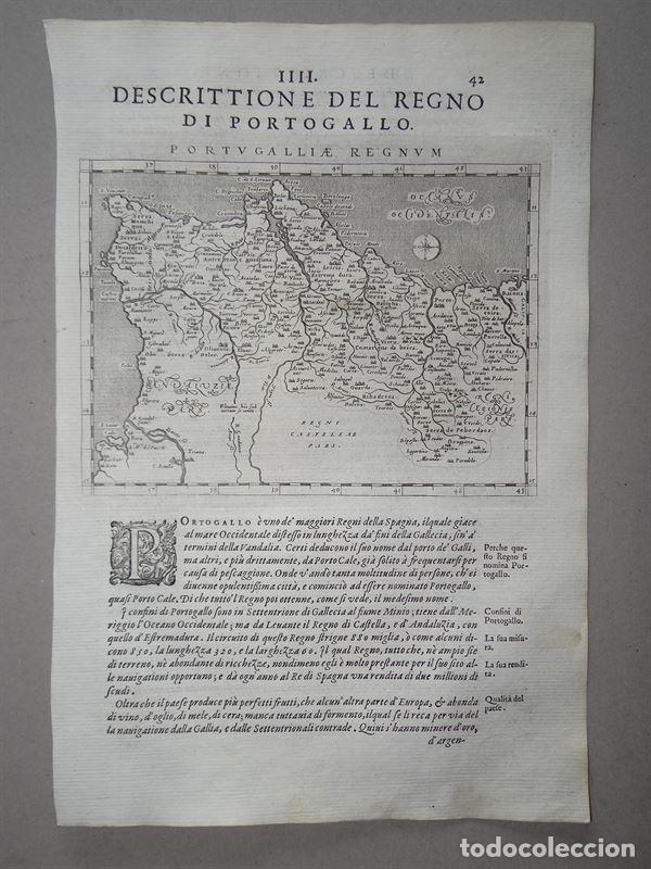 Arte: Antiguo mapa del Reino de Portugal, 1597. Ptolomeo/Girolamo Porro - Foto 2 - 107970931