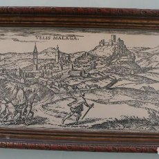 Arte: DEPINGEBAT GEORGIUS HOEFNAGLE – ANTIGUO GRABADO CARTOGRAFIA EN PLANCHA DE COBRE: VELIS MALAGA . Lote 108076199