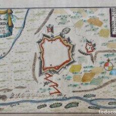 Arte: PLANO DE LA FORTALEZA DE LA CIUDAD DE PUIGCERDÁ ,GRABADO CON ACUARELA DE 1678. 15 X 10,2 CM. Lote 108689527