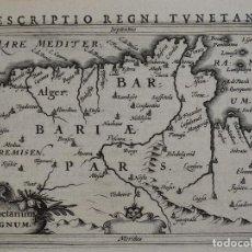 Arte: MAPA DE TÚNEZ (ÁFRICA), 1616. BERTIUS/HONDIUS. Lote 108848299