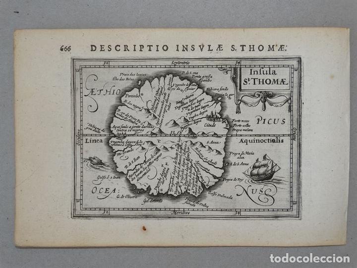 Arte: Mapa de la Isla de Santo Tomé (África), 1616. Bertius/Hondius - Foto 2 - 108848375