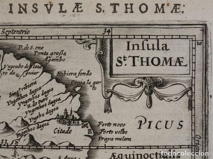 Arte: Mapa de la Isla de Santo Tomé (África), 1616. Bertius/Hondius - Foto 4 - 108848375