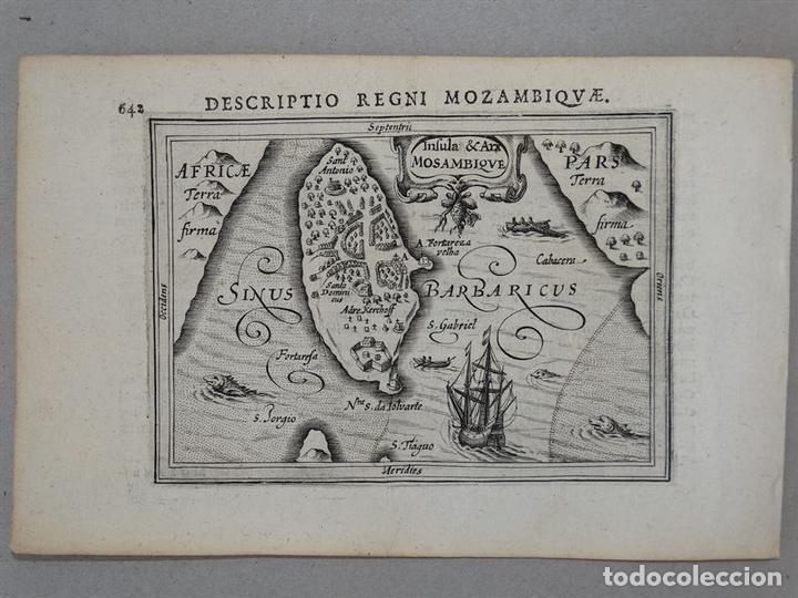 Arte: Mapa de la Isla de Mozambique (África oriental), 1616. Bertius/ Hondius - Foto 2 - 108848467