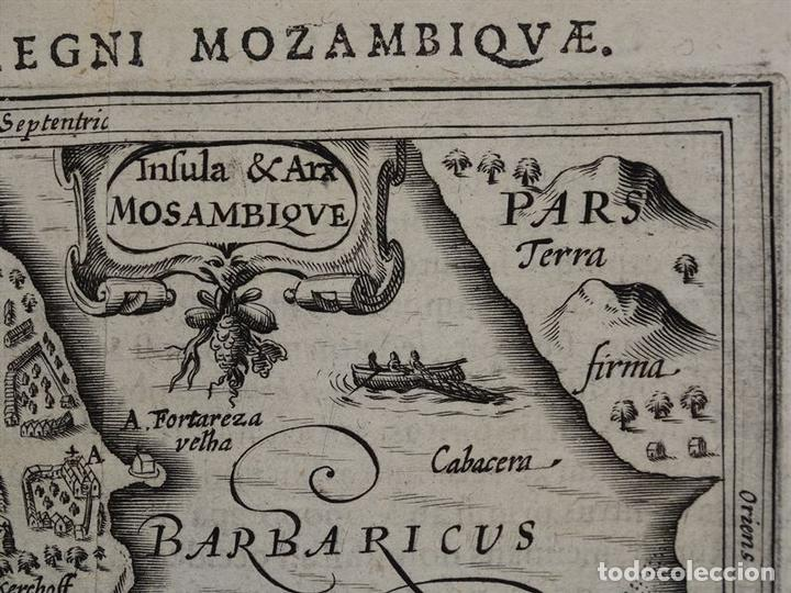 Arte: Mapa de la Isla de Mozambique (África oriental), 1616. Bertius/ Hondius - Foto 5 - 108848467