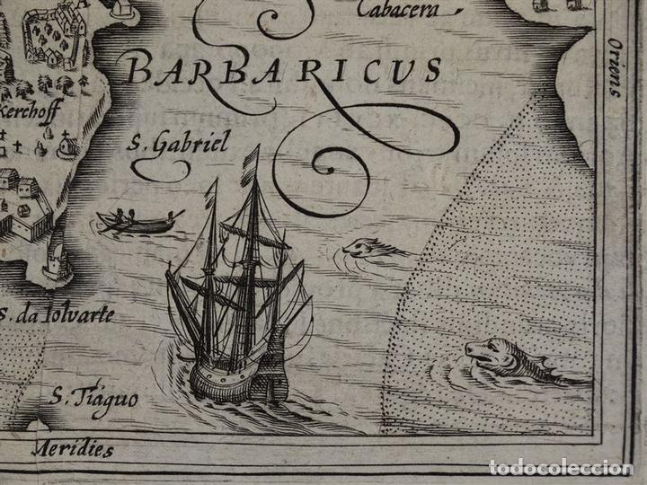 Arte: Mapa de la Isla de Mozambique (África oriental), 1616. Bertius/ Hondius - Foto 6 - 108848467