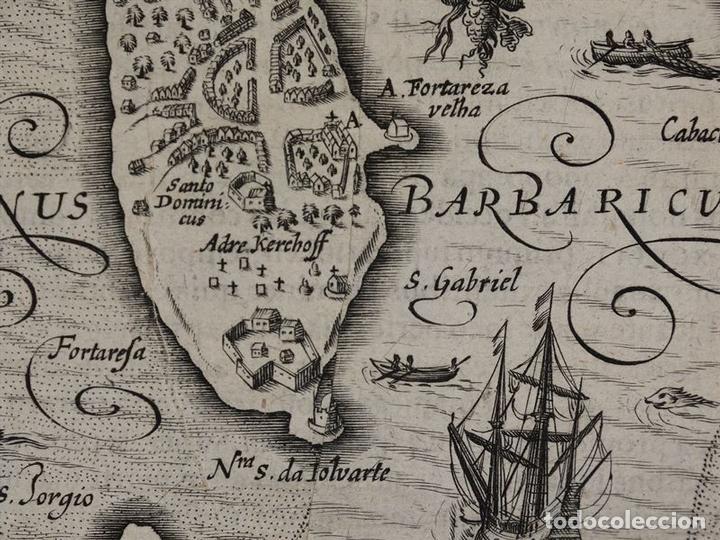 Arte: Mapa de la Isla de Mozambique (África oriental), 1616. Bertius/ Hondius - Foto 8 - 108848467