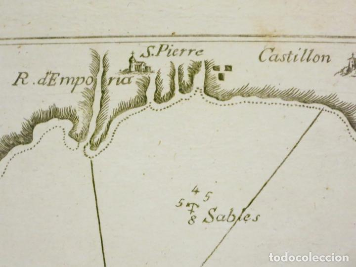 Arte: Mapa del Golfo de Rosas en Girona ñCataluña (España),18004. Joseph Roux - Foto 3 - 108923263
