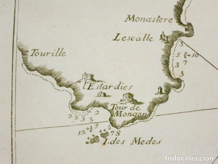 Arte: Mapa del Golfo de Rosas en Girona ñCataluña (España),18004. Joseph Roux - Foto 4 - 108923263