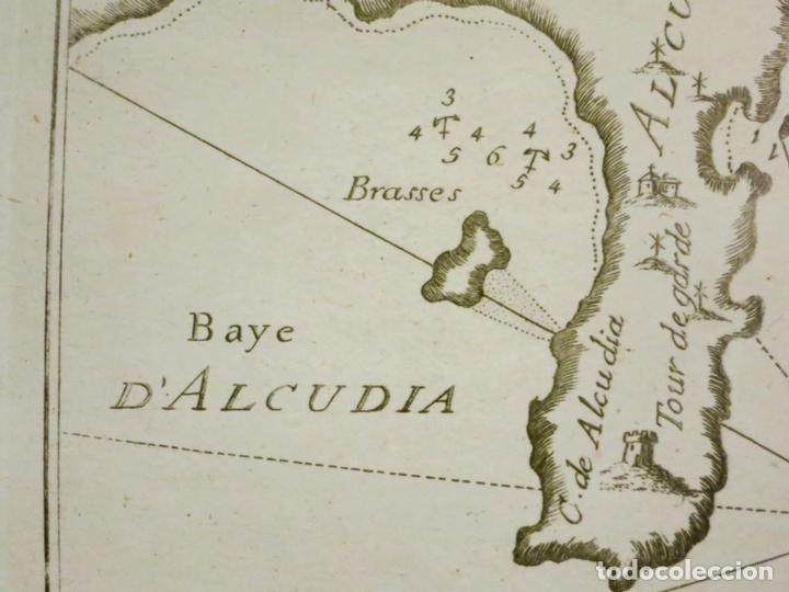 Arte: Mapa de las bahías de Alcudia y Pollenca (Mallorca, Baleares), 1804. Joseph Roux - Foto 2 - 108923639