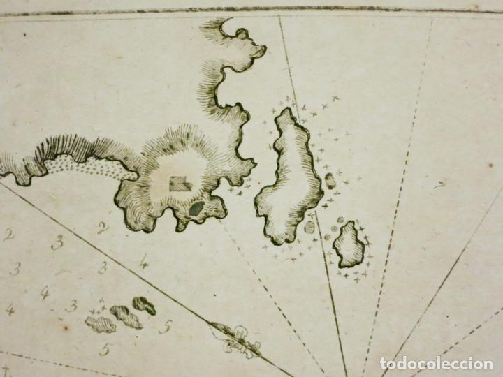 Arte: Mapa de la bahía de Cadaqués ( Cataluña, Costa Brava), 1804. Joseph Roux - Foto 4 - 108923867