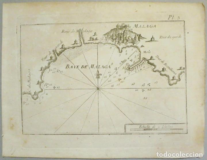 MAPA DEL PUERTO Y BAHÍA DE MÁLAGA (ESPAÑA), 1804. JOSEPH ROUX (Arte - Cartografía Antigua (hasta S. XIX))