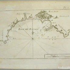 Arte: MAPA DEL PUERTO Y BAHÍA DE MÁLAGA (ESPAÑA), 1804. JOSEPH ROUX. Lote 108924603