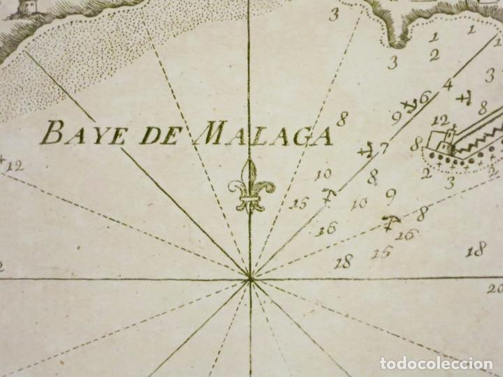 Arte: Mapa del puerto y bahía de Málaga (España), 1804. Joseph Roux - Foto 2 - 108924603