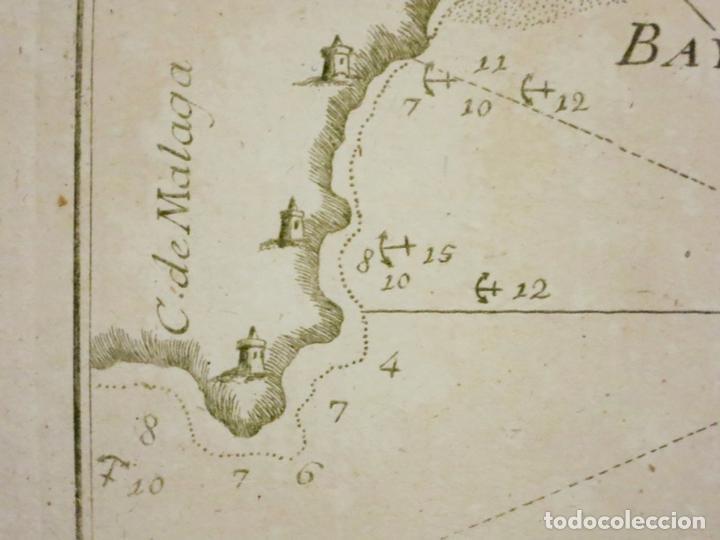 Arte: Mapa del puerto y bahía de Málaga (España), 1804. Joseph Roux - Foto 4 - 108924603