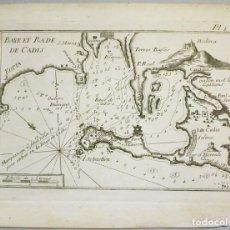 Arte: MAPA DEL PUERTO Y LA BAHÍA DE CÁDIZ (ESPAÑA), 1804.JOSEPH ROUX. Lote 108924895