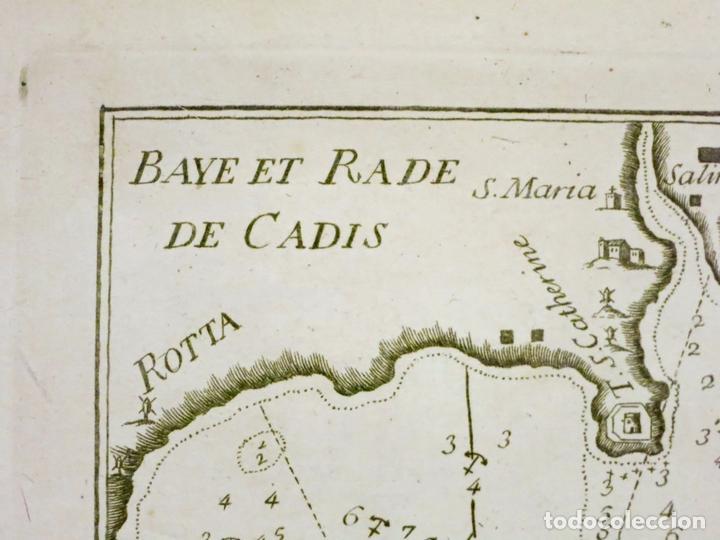 Arte: Mapa del puerto y la bahía de Cádiz (España), 1804.Joseph Roux - Foto 2 - 108924895