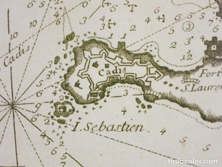 Arte: Mapa del puerto y la bahía de Cádiz (España), 1804.Joseph Roux - Foto 3 - 108924895