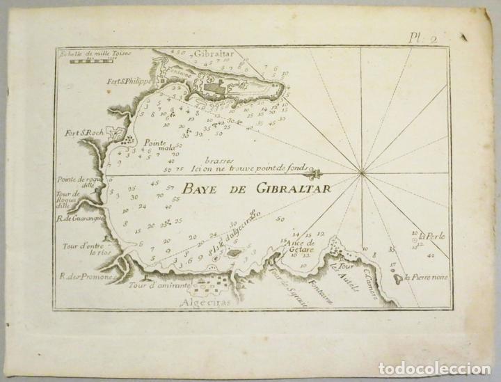 MAPA DEL PUERTO Y LA BAHÍA DE GIBRALTAR ( SUR DE ESPAÑA ), 1804. JOSEPH ROUX (Arte - Cartografía Antigua (hasta S. XIX))