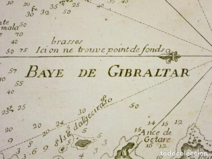 Arte: Mapa del puerto y la bahía de Gibraltar ( sur de España ), 1804. Joseph Roux - Foto 3 - 108925047