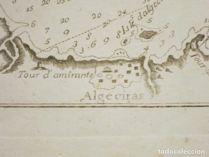 Arte: Mapa del puerto y la bahía de Gibraltar ( sur de España ), 1804. Joseph Roux - Foto 4 - 108925047