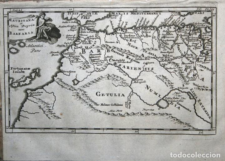MAPA DEL NORTOESTE DE ÁFRICA, 1711. BUNONE/CLÜVER (Arte - Cartografía Antigua (hasta S. XIX))