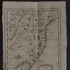 Arte: MAPA DEL SUR DE BRASIL Y URUGUAY (AMÉRICA DEL SUR), 1785. BELLIN. Lote 109212015