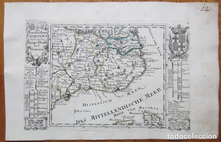 MAPA DE CATALUÑA (ESPAÑA), 1720. BODENEHR (Arte - Cartografía Antigua (hasta S. XIX))