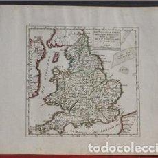 Arte: MAPA DE INGLATERRA (EUROPA), 1748. ROBERT VAUGONDY. Lote 109352827