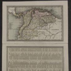Arte: MAPA DE COLOMBIA, VENEZUELA, ECUADOR, GUAYANA,..(AMÉRICA DEL SUR) 1831. THOMAS STARLING. Lote 109355063