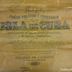 Arte: MAPA DE CUBA ORIGINAL AÑO 1862. 180 X 125 CTMS. NECESITA RESTAURACIÓN. GRAN PIEZA. Lote 109735655