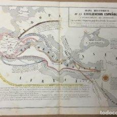 Arte: MAPA HISTÓRICO DE LA CIVILIZACIÓN ESPAÑOLA. 29 X 39,5 CM. AÑO 1857. LIT. BACHILLER. VENERAS Nº 7.. Lote 110352535