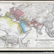 Arte: MAPA PLANO ORBIS TERRARUM DE HEINRICH KIEPERT, LITOGRAFÍA DE 1869, COLOREADA A MANO, CARTOGRAFÍA. Lote 110374595
