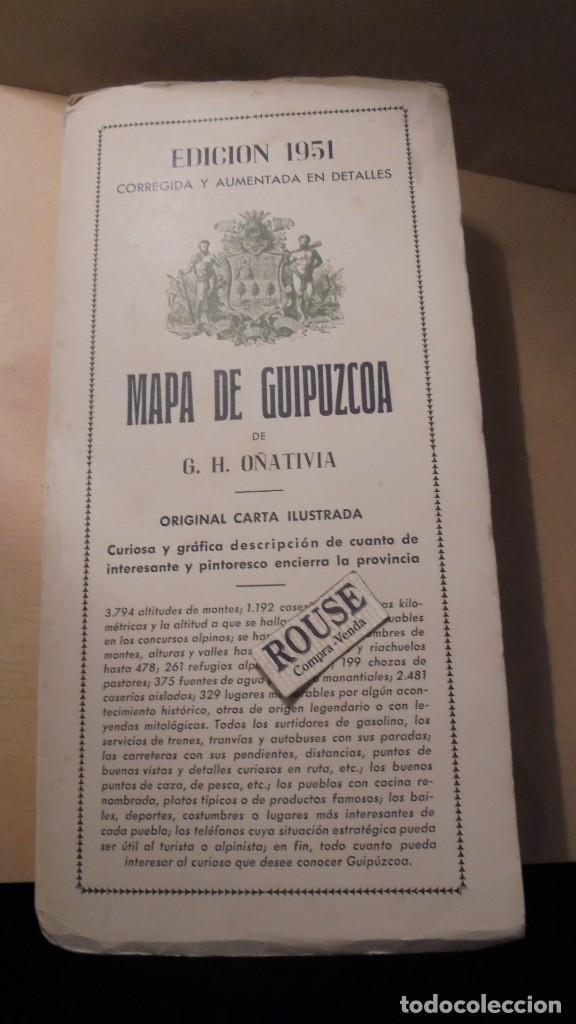 Arte: ANTIGUO MAPA DE GUIPUZCOA DE G.H. OÑATIVIA EDC. 1951 90X72 CM. DIFUMINOGRABADO PROCEDIMIENTO - Foto 6 - 111705575