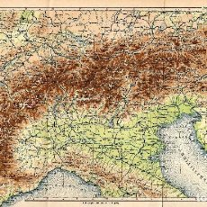 Arte: MAPA FÍSICO ALPES ITALIA FRANCIA SUIZA AUSTRIA CARTOGRAFÍA ORIGINAL SIGLO XIX. Lote 161980297
