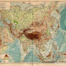 Arte: MAPA FÍSICO ASIA OROGRAFÍA HIDROLOGÍA CARTOGRAFÍA DECIMONÓNICA . Lote 112460211